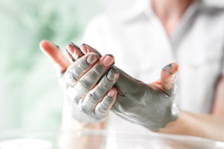 acupressure hands: hand massage Stock Photo
