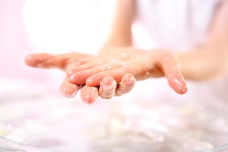 acupressure hands: Reflexology, hand reflexology massage Stock Photo