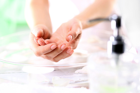 bath cream: Homemade treatments for hands and nails Stock Photo