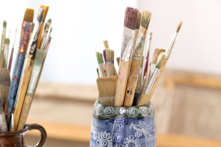 tempera: Brushes and painting accessories Stock Photo