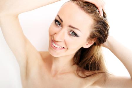 beautiful teeth: Beautiful smile, healthy white teeth Stock Photo