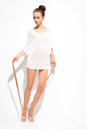 shapely legs: Slim womans legs in pantyhose