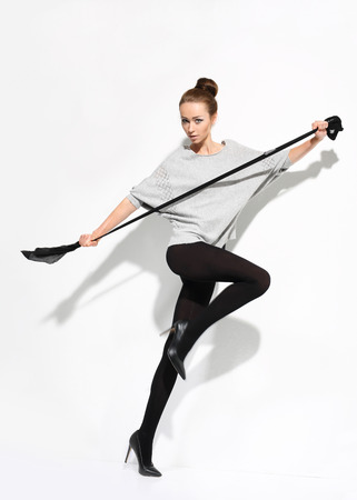 shapely legs: Flexible tights.