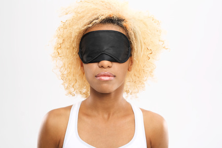 restful: Restful sleep. Young woman with eyes blindfolded band on eyes