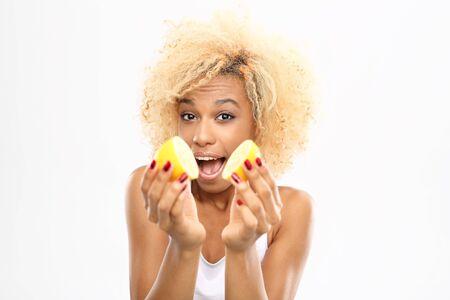 lemon: Energy from fruits, health and vitamins. Dark-skinned girl with fruits lemon