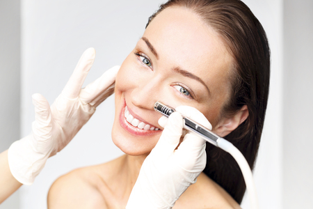 healthcare and beauty: The woman at the beautician, microdermabrasion