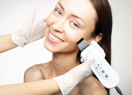 aha: Cavitation peeling, beauty treatment Stock Photo