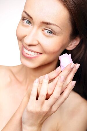 elastic: Soap for the face. Portrait of beautiful young happy woman with decorative soap for the face