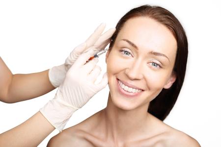 Drooping eyelid, injection of botox