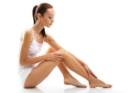 thighs: La delicada piel de las piernas Foto de archivo