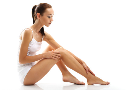 smooth legs: The delicate skin of legs Stock Photo