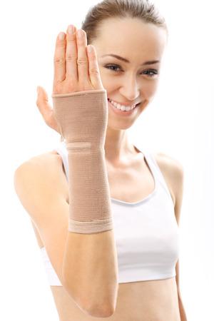 orthopedics: orthopedics, Compression joint stabilizer hand Stock Photo