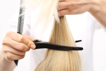 fingering: Clipping, combing woman at the hairdresser