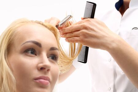 hairdressing accessories: Haircut chinese knife. Barber haircut woman with a knife in a Chinese hair salon Stock Photo
