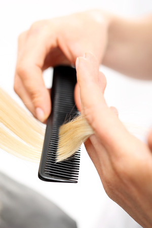 fingering: Combing hair. The woman in the chair barber styling during surgery Stock Photo