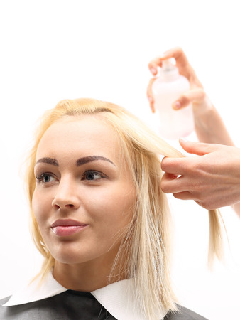 hair conditioner: Barber comb beautiful blonde, requires preparation Increases hair volume Stock Photo