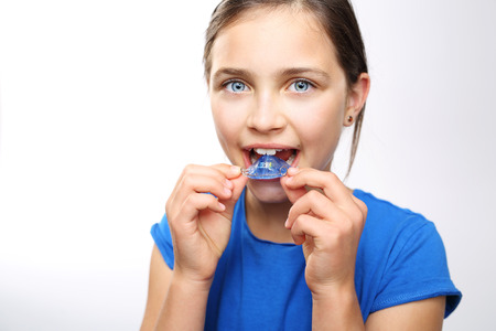 dentist and patient: Child orthodontist. Stock Photo