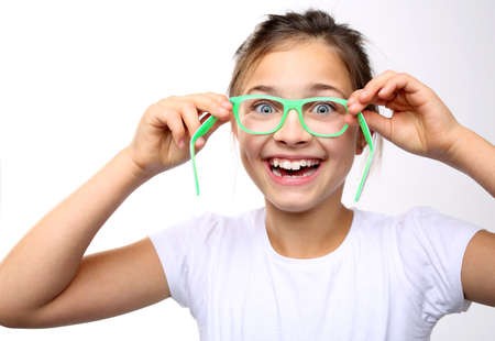 covenant: How to choose glasses. Happy child of the covenant glasses Stock Photo