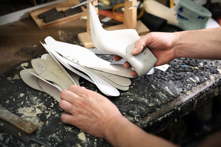 suede belt: Designing shoes, hand made shoes for the shoemaker Stock Photo