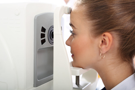 refractive: Woman in ophthalmologist.
