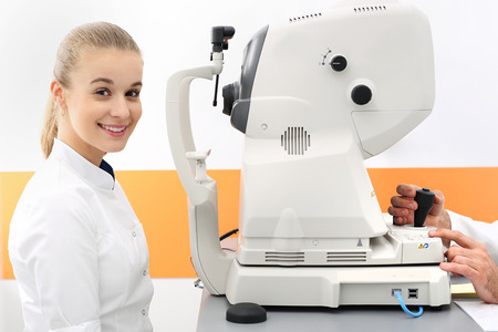 fundus: Eye examination. The patient during an eye examination at the eye clinic