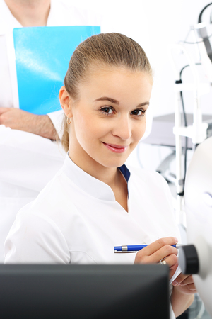 visual therapy: Ophthalmologist.Ophthalmology, eye doctors office. Stock Photo