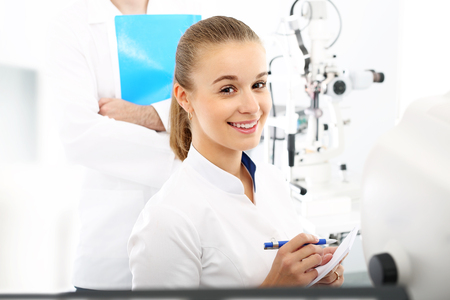 astigmatism: Ophthalmologist. Young attractive doctor ophthalmologist at an ophthalmologist
