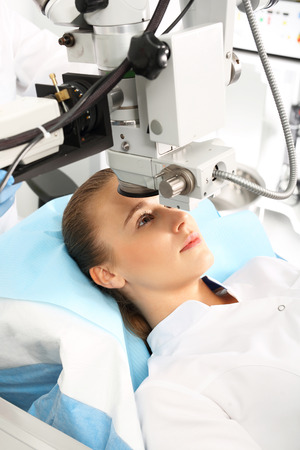 surgery table: The operation is remove a cataract. Ophthalmologist Stock Photo