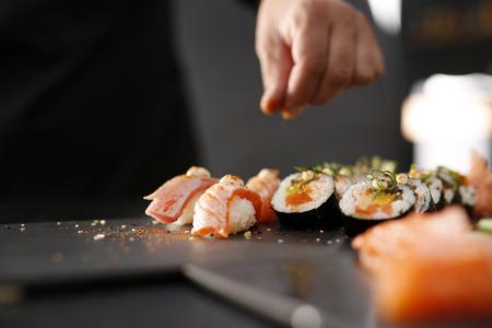 寿司メニュー。日本食レストラン、寿司。 写真素材