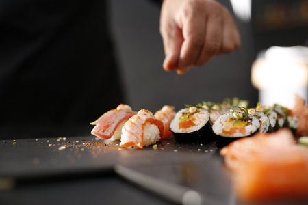 tuna mayo: Sushi menu. Japanese restaurant, sushi.