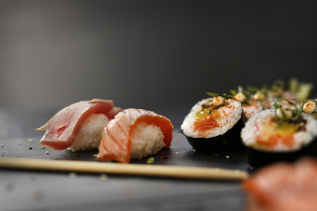 sushi plate: Japanese cuisine, sushi.