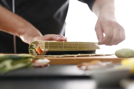 sushi menu: Cuisines of the world, Japanese sushi Stock Photo