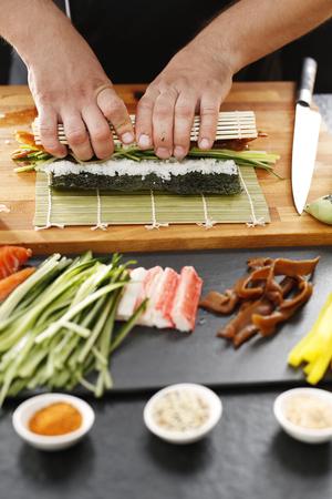 bamboo mat: Bamboo mat, preparing sushi