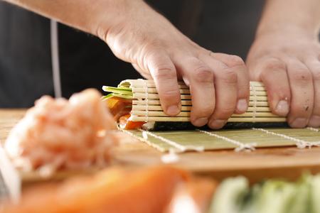 Bamboo mat, preparing sushi