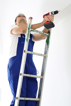 lighting technician: electrician Stock Photo
