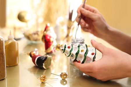 Decorating Christmas of glass balls.
