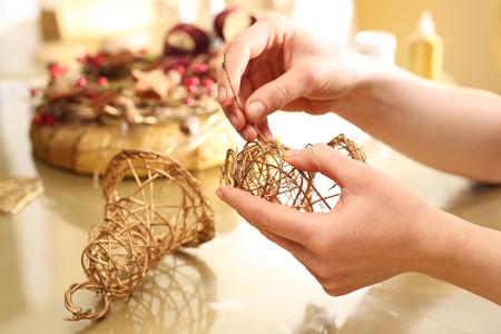 gold ornaments: Golden bells made of sticks