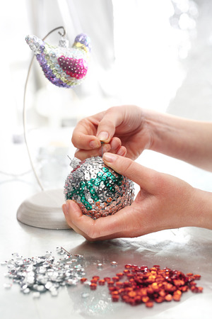 sequined: Beautiful Christmas decorations, sequined Christmas ornaments