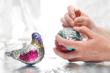 sequined: Sequined Christmas ornaments Stock Photo