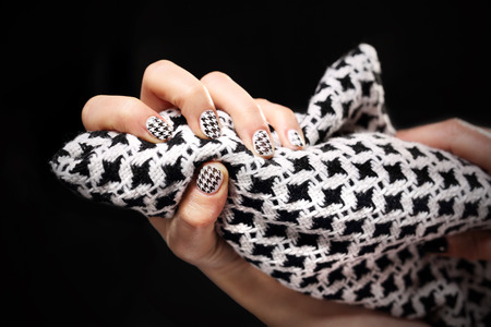 nails: barbecues, black and white pattern on your nails