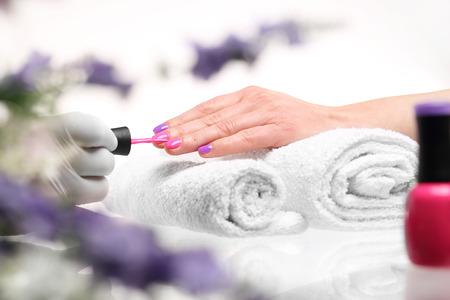 french manicure: A beauty salon, a colorful manicure