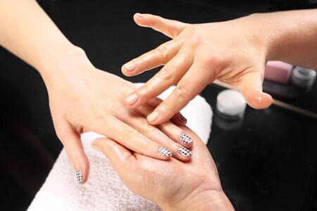 beauty parlor: Hand massage.Massage hand care treatment at the beauty salon.