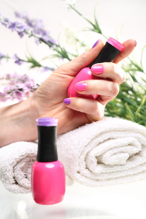 nail bar: Pastel pink nail polish nails. Colored manicure, cosmetic colored lacquer painting nails