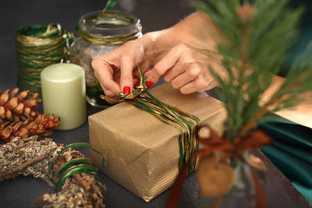 gift wrapping: Florist. Art gift wrapping. Christmas