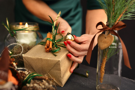 xmas crafts: Florist, green Christmas decoration Stock Photo