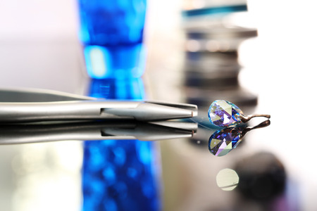 swarovski: silver earring, Swarovski element Stock Photo