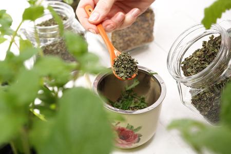 Steaming herbs.