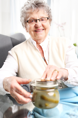 old time: Grandmas preserves, delicious place the jars for the winter