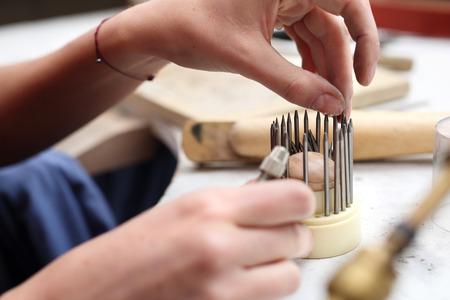 jewelery: Precious stone tools in a jewelery workshop.