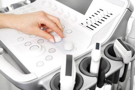 sonogram: Ultrasound. Head sonogram, medical examination.